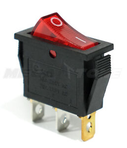 1 Pc Spst On off Rocker Switch W Red Neon Lamp 20a 125vac Usa Seller