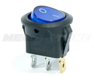 Spst 3 Pin On off Round Rocker Switch W Blue Neon Lamp 10a 125vac Usa Seller