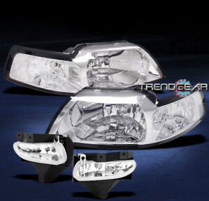 1999 2004 Ford Mustang Crystal Head Lights bumper Fog Lamp 2000 2001 2002 2003