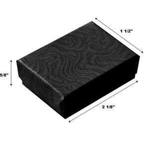 200 Small Swirl Black Cotton Fill Jewelry Display Gift Boxes 2 1 8 X 1 1 2 X 5 8