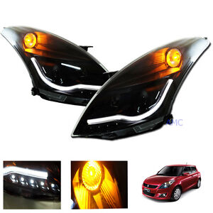 Fit Suzuki Swift 2010 2016 Head Lamp Light Smoke Ccfl Led Projector