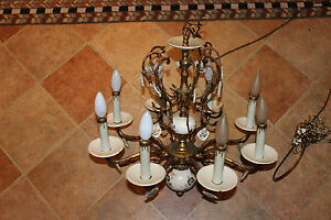 Antique Victorian Style Hanging Chandelier 8 Light Painted Flowers Brass Metal