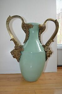 Rare Antique Chinese Jun Ru Crack Glazed And Bronze Handle Flower Vase