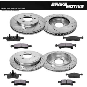 Front Rear Drilled Slotted Brake Rotors And Metallic Pads Expedition Navigator