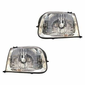 Fits 2001 2004 Toyota Sequoia Driver Passenger Headlight Lamp Assembly 1 Pair