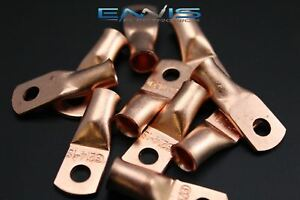 2 Gauge Copper 1 4 Ring 100 Pk Crimp Terminal Connector Awg Ga Car Eye Cur214