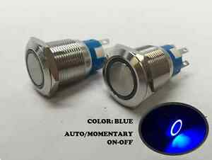 2 Of Marine Ss 304 Blue Led 12v Flush Light Auto On off Push Switch Ring Button