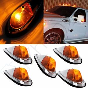 5pcs Truck Semi Trailer Amber Cab Marker Roof Running Clearance Lights For Dodge
