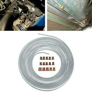 25ft 300inch Steel Zinc Brake Line Tubing Kit 3 16 Od Roll With 15pcs Lugs