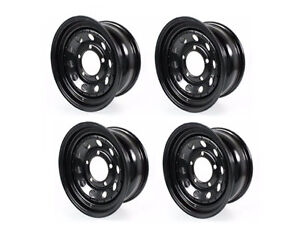 Land Rover Discovery Defender Classic Black Steel Road Wheel Set X4 Grw006 New