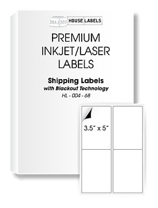 200 Sheets 800 Labels Blackout 3 5 X 5 Fast Peel White Address Shipping 4up