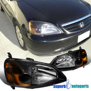 For 2001 2003 Honda Civic Coupe Sedan Black Headlights Lamps W Amber Corner