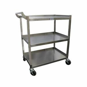Gsw Stainless Steel Solid 1 Tubular Utility Cart With 5 Swivel Casters 18 x30