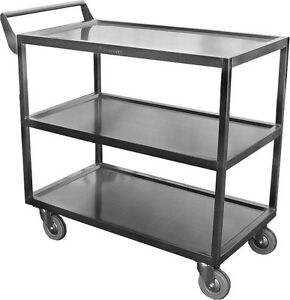 Commercial All Stainless Steel Utility Bus Cart 300lbs Capacity C 4111 Nsf
