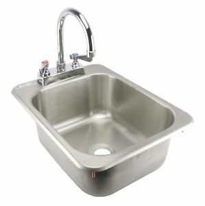 Ace Stainless Steel Commercial Drop In Hand Sink With Faucet 13x17 Etl Hs 1317ih