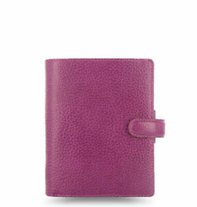 Filofax Pocket Finsbury Raspberry Textured Full Grain Leather Organiser