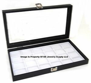 Lot Of 2 Glass Top White 24 Space Jewelry Display Cases Pendants Pin Brooch