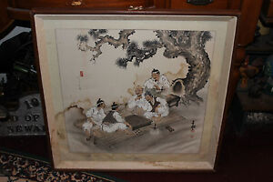 Chinese Japanese Water Color Painting Drawing Men Playing Checkers Signed Stamp