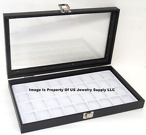 Lot Of 2 Glass Top Lid White 32 Space Jewelry Display Cases Pendant Pin Charms