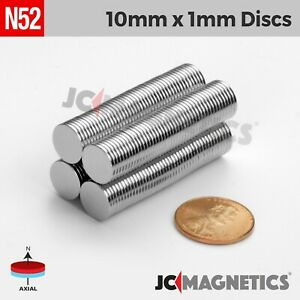 50 100pcs 10mm X 1mm 3 8 x1 32 N52 Strong Disc Rare Earth Neodymium Thin Magnet