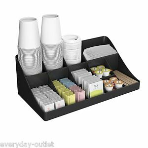 Office Breakroom Coffee Condiment Organizer Dispenser Caddy 13 Compartment Rack