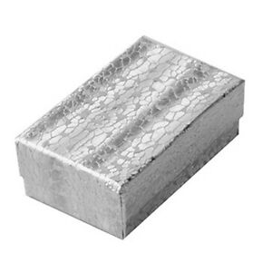Lot Of 100 Small Silver Cotton Fill Jewelry Gift Boxes 1 7 8 X 1 1 4 X 5 8