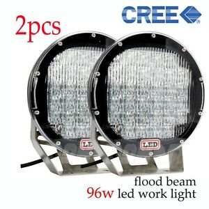 Pair 96w High Power Led Work Light Atvs Offroad Suv Truck Boat 4wd 9 Flood