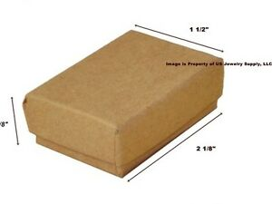 Lot Of 500 Small Kraft Brown Cotton Fill Jewelry Gift Boxes 2 1 8 X 1 1 2 X 5 8