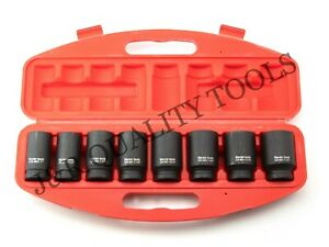 9 Pc 3 4 Drive Dr Black Air Impact Sae Size Sized Deep Socket Tool Set