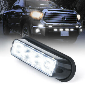 4 Led Emergency Vehicle White Amber Side Marker Grill Flash Strobe Warning Light