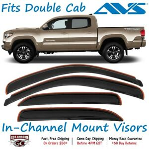 194768 Avs In channel Vent Visor Rain Guards Fits Tacoma Double Cab 2016 2019