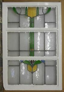 Large Old English Leaded Stained Glass Window Abstract Floral 22 X 32 75
