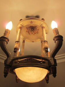 Europe 19 Th France Antique Louis Xvi Wood Chandelier Beautiful Electric Light