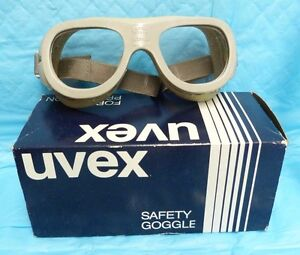 Uvex German Chipping Grinding Polycarbonate Lens Safety Goggle Eyewear Vtg Nos