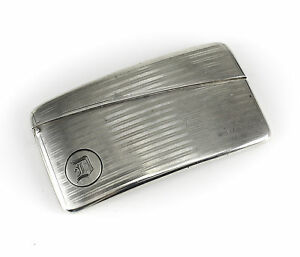 American Silver Curved Card Case Unmarked C1900