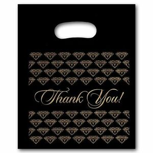 200 Medium Black Thank You Merchandise Plastic Retail Bags 9 X 11 Tall