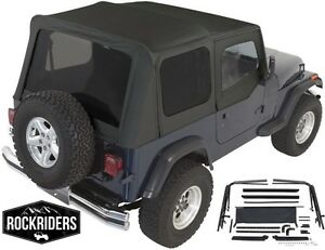1987 1995 Jeep Wrangler Yj Complete Soft Top With Hardware Kit In Black
