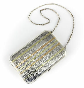 Bliss Sterling Silver Multicolored 14k Gold Inlay Chatelaine Card Case C1900
