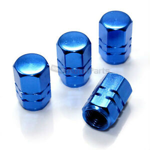 4 Blue Aluminum Tire Wheel Air Pressure Valve Stem Caps For Auto Car Truck Bike