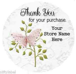 Customized Business Thank You Sticker Labels Butterfly Design 21