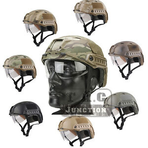 Emerson Tactical Fast Helmet BJ Type Bump Base Jump Helmet w Flip-down Visor