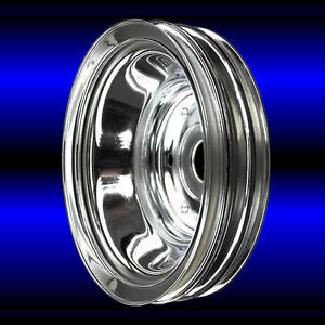 Crankshaft Pulley 3 Groove For Small Block Chevy Lwp 327 350 400 Chrome Sbc