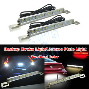 2x White red Universal 30 smd Led Lamps For License Plate brake backup Light 12v