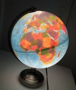 Vintage Lighted Replogle Globe By Scanglobe 30 Cm Lamp 17 High
