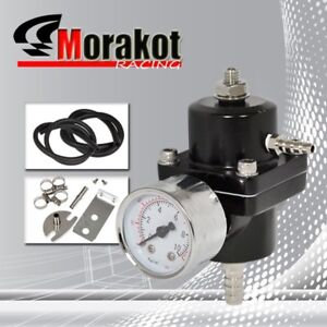 Universal Aluminum Adjustable 1 140 Psi Fuel Pressure Regulator W Gauge Black