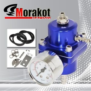 Universal Adjustable 1 To 140 Psi Fuel Pressure Regulator With Gauge Blue