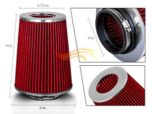 4 Red Truck Long Performance High Flow Cold Air Intake Cone Dry Filter
