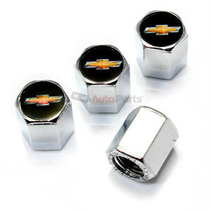 4 Chevy New Gold Bowtie Logo Chrome Abs Tire Wheel Stem Air Valve Car Truck Caps