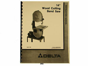 Delta 14 Band Saw Wood Cutting Operating Parts List Manual 845