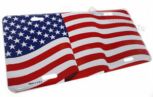 Usa American Flag License Plate Aluminum Stamped Metal Tag For Car Truck